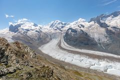 De beroemde Gorner-Gletsjer in HDR, tweede - grootste gletsjer in Royalty-vrije Stock Foto's