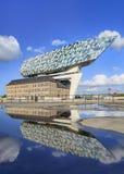 De beroemde Haven van het Hoofdkwartier van Antwerpen dacht in een vijver op een zonnige dag na, België royalty-vrije stock foto