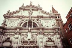 De beroemde kerk van San Moise in Venetië & x28; Italy& x29; Stock Foto