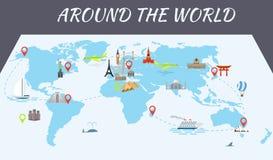 De beroemde pictogrammen van wereldoriëntatiepunten op de kaart stock foto
