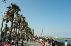 De beroemde strandboulevard van Barcelona Stock Afbeelding