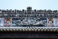 De beroemde toeristische attracties in Guangzhou-voorouderlijke zaal van stads de Chinese Chen, op het dak met het proces en Shiw stock afbeelding