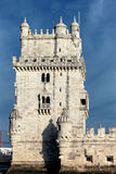 De beroemde Toren van Belem in avond Royalty-vrije Stock Foto's