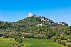 De mening van de d'Orciastad van Castiglione, Toscanië, Italië stock foto
