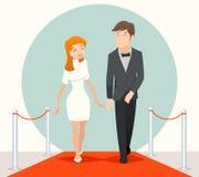 De beroemdheden koppelen het lopen op een rood tapijt Vector illustratie Royalty-vrije Stock Afbeelding