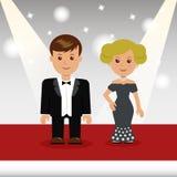 De beroemdheden lopen het rode tapijt vector illustratie