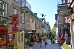 Rue du Petit-Champlain, de Stad van Quebec Royalty-vrije Stock Foto