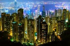 De beroemdste mening van Hong Kong bij schemeringzonsondergang Hong Kong-cityscape van de wolkenkrabbershorizon mening van verlic royalty-vrije stock afbeeldingen