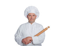 Professionele die chef-kok op witte achtergrond wordt geïsoleerdr Stock Foto