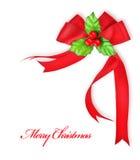De bes van de hulst en rood lint, de decoratie van Kerstmis Stock Foto's