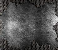 De beschadigde achtergrond van de metaalrooster stock foto