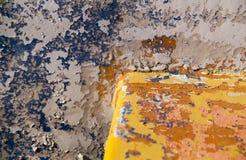 De beschadigde Geschilderde Blauwe en Gele Oude Achtergrond T van de surfacelbanner Royalty-vrije Stock Fotografie
