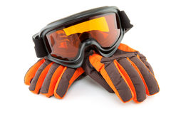 De beschermende brillen en de handschoenen van de ski Stock Foto's