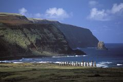 De beschermers van Nui van Rapa Stock Afbeeldingen