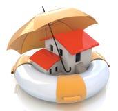 De bescherming van de huisverzekering tegen hypotheek Onroerende goederenfinancieel en structureel risico Stock Foto