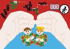 De bescherming van het kind tegen geweld royalty-vrije illustratie