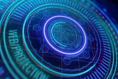 De beschermingsconcept van het Cyber ruimteweb Stock Afbeelding