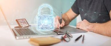 De beschermingsinterface van de Webveiligheid die door grafische ontwerper 3D wordt gebruikt aangaande Royalty-vrije Illustratie