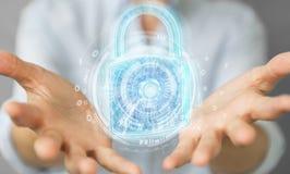 De beschermingsinterface van de Webveiligheid door onderneemster 3D rende die wordt gebruikt Stock Illustratie