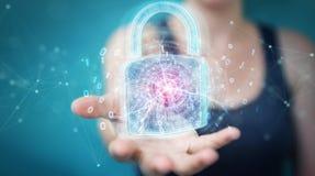 De beschermingsinterface van de Webveiligheid door onderneemster 3D rende die wordt gebruikt Vector Illustratie