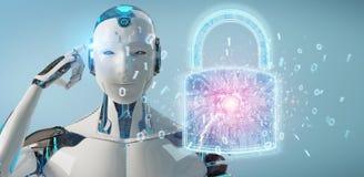 De beschermingsinterface van de Webveiligheid door robot die 3D terug te geven wordt gebruikt royalty-vrije illustratie