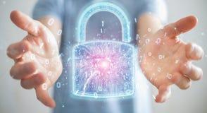 De beschermingsinterface van de Webveiligheid door zakenman 3D renderi die wordt gebruikt Royalty-vrije Illustratie
