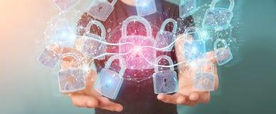 De beschermingsinterface van de Webveiligheid door zakenman 3D renderi die wordt gebruikt Stock Illustratie