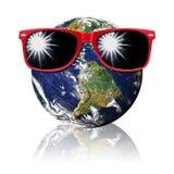 De Beschermingszonlicht van de aarde Rood Zonnebril Stock Afbeelding