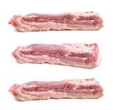 De besnoeiing van de varkensvleesbuik, toont lagen spier en vetten Stock Fotografie