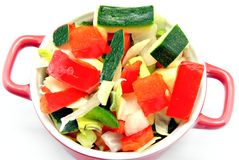 De besnoeiing van rauwe groenten Stock Foto's