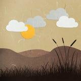 De besnoeiingsoren van het rijstpapier op een zonsondergang Royalty-vrije Stock Afbeelding