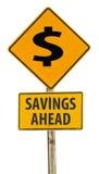 De besparingen ondertekenen vooruit Stock Foto