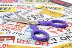 De Besparingen van de coupon stock foto