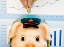 De Besparingen van het spaarvarken Stock Foto's