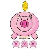 De Besparingenbeeldverhaal van het spaarvarken Stock Foto's
