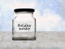 De besparingenpot van het vakantiegeld, lege kruik Stock Fotografie