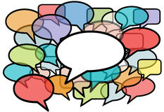 De bespreking in kleurentoespraak borrelt sociale media Royalty-vrije Stock Afbeelding