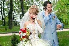 De bespreking van de bruid en van de bruidegom telefonisch Stock Afbeeldingen