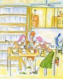 De bespreking van meisjes royalty-vrije illustratie