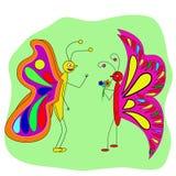 De bespreking van twee vlinderminnaars Stock Foto