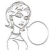De besprekingsbeeld van de Lineart vectorvrouw Pop-artstijl, eps 10 Stock Foto