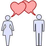 De besprekingsliefde van het paar in de bellen van de harttoespraak Royalty-vrije Stock Afbeeldingen