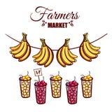 De Bessenbananen van de landbouwersmarkt Stock Afbeelding