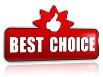 De beste keus en de duim ondertekenen omhoog in 3d rode banner met ster Stock Foto