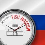 De Beste Tijd voor Bezoek Moskou Vectorklok met Slogan Russische vlagachtergrond Analoog horloge Het Mausoleumpictogram van Lenin royalty-vrije illustratie