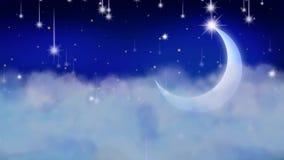 De beste vallende sterren van de nachthemel en lichte maan, beste lijn videoachtergrond om een baby aan slaap, het kalmerende ont royalty-vrije illustratie