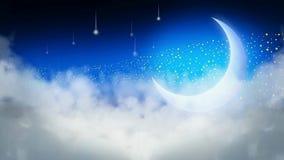 De beste vallende sterren van de nachthemel en lichte maan stock video