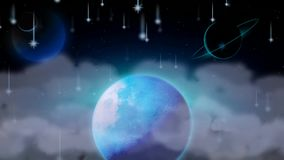 De beste volle maan van de nachthemel en vallende sterren, beste lijn videoachtergrond om een baby aan slaap, het kalmerende onts vector illustratie