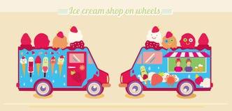 De bestelwagen van de roomijsvrachtwagen Roomijswinkel op wielen Roomijsijslolly Smakelijke bevroren, beeldverhaalkarakters, vruc Stock Fotografie