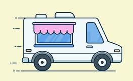 De bestelwagen van het straatvoedsel snel voedsellevering Vlakke ontwerp vectordieillustratie op achtergrond wordt geïsoleerd vector illustratie